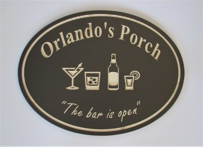 Custom Oval Bar Sign Pub Sign Man Cave Sign with carved Variety Glasses