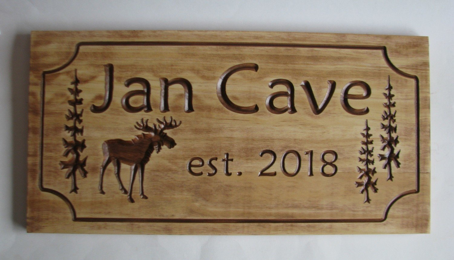 Customizable Rustic Cabin Sign Camp Sign Family Name Sign Stained Distressed Look with Carved Moose and Trees