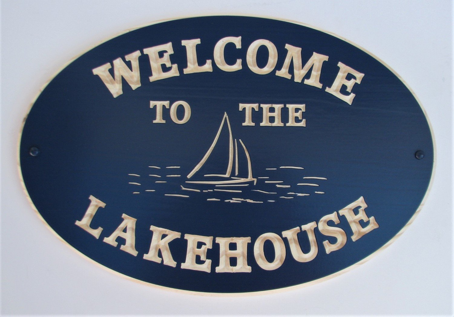Custom Exterior Oval Wood Sign Welcome to the LakeHouse