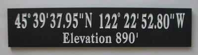 Custom 2 Colour Longitude Latitude GPS Coordinates Sign