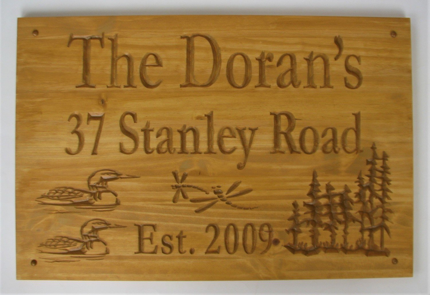 Large Rustic Stained Wood Family Name Sign Address Sign Established Sign