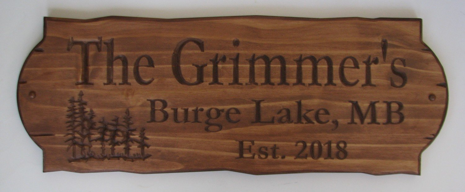 Personalized Rustic Stained Outdoor Wood Sign with Carved Trees