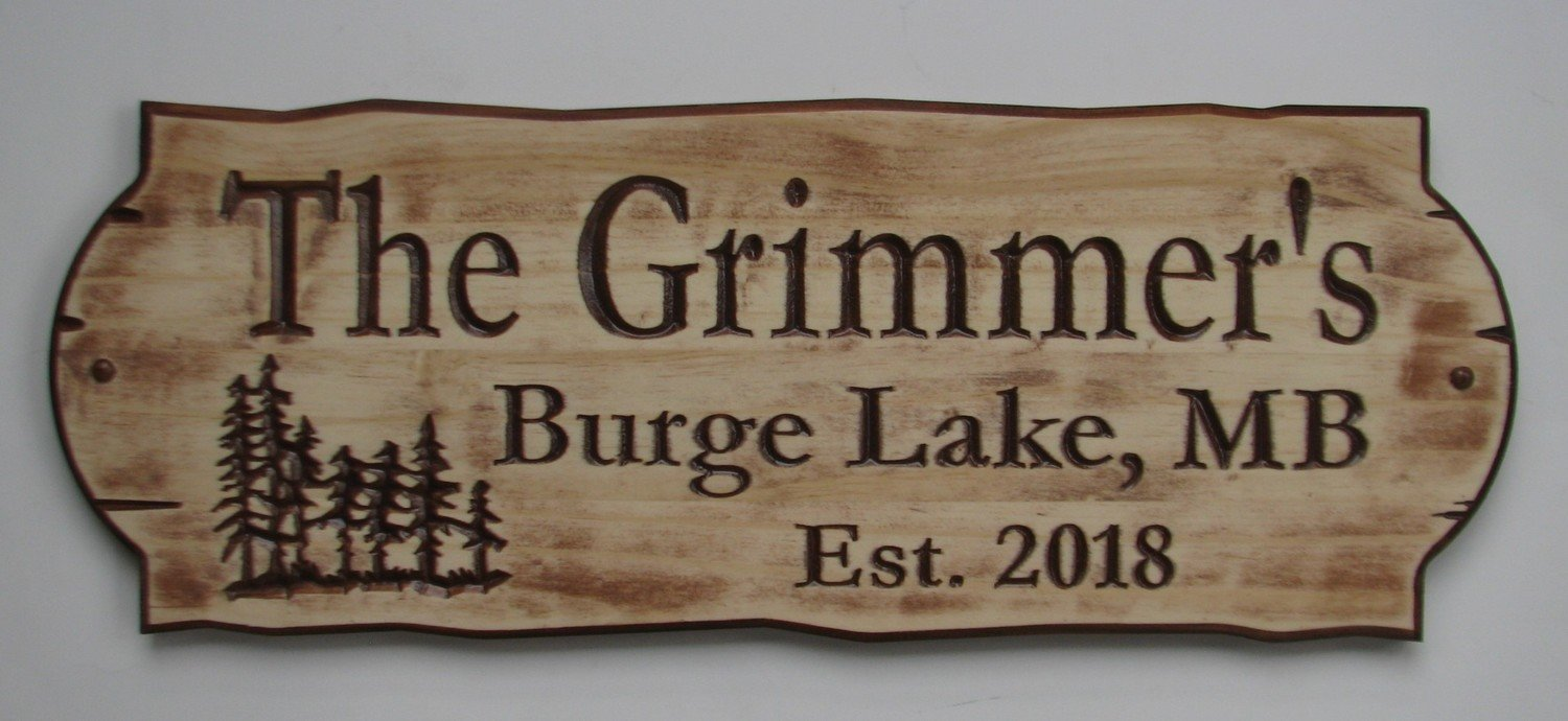 Personalized Rustic Stained Distressed Look Outdoor Wood Sign with Carved Trees
