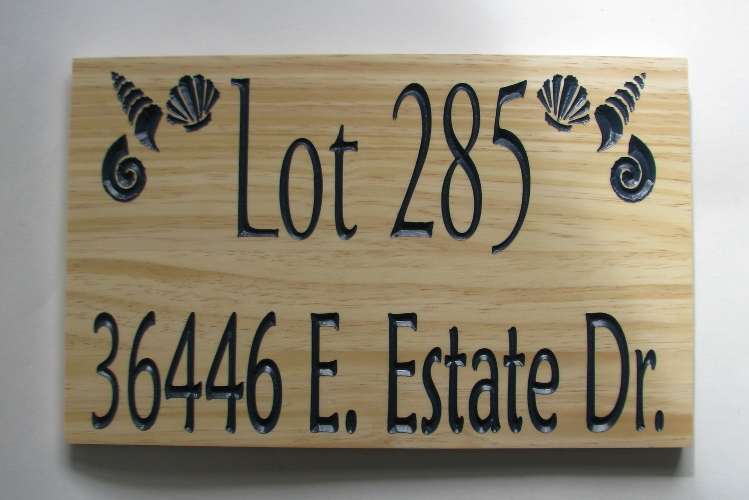 Custom Wood Outdoor Address Sign with Carved Shells