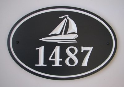 Custom Oval Painted Wood House Number with Carved Sailboat