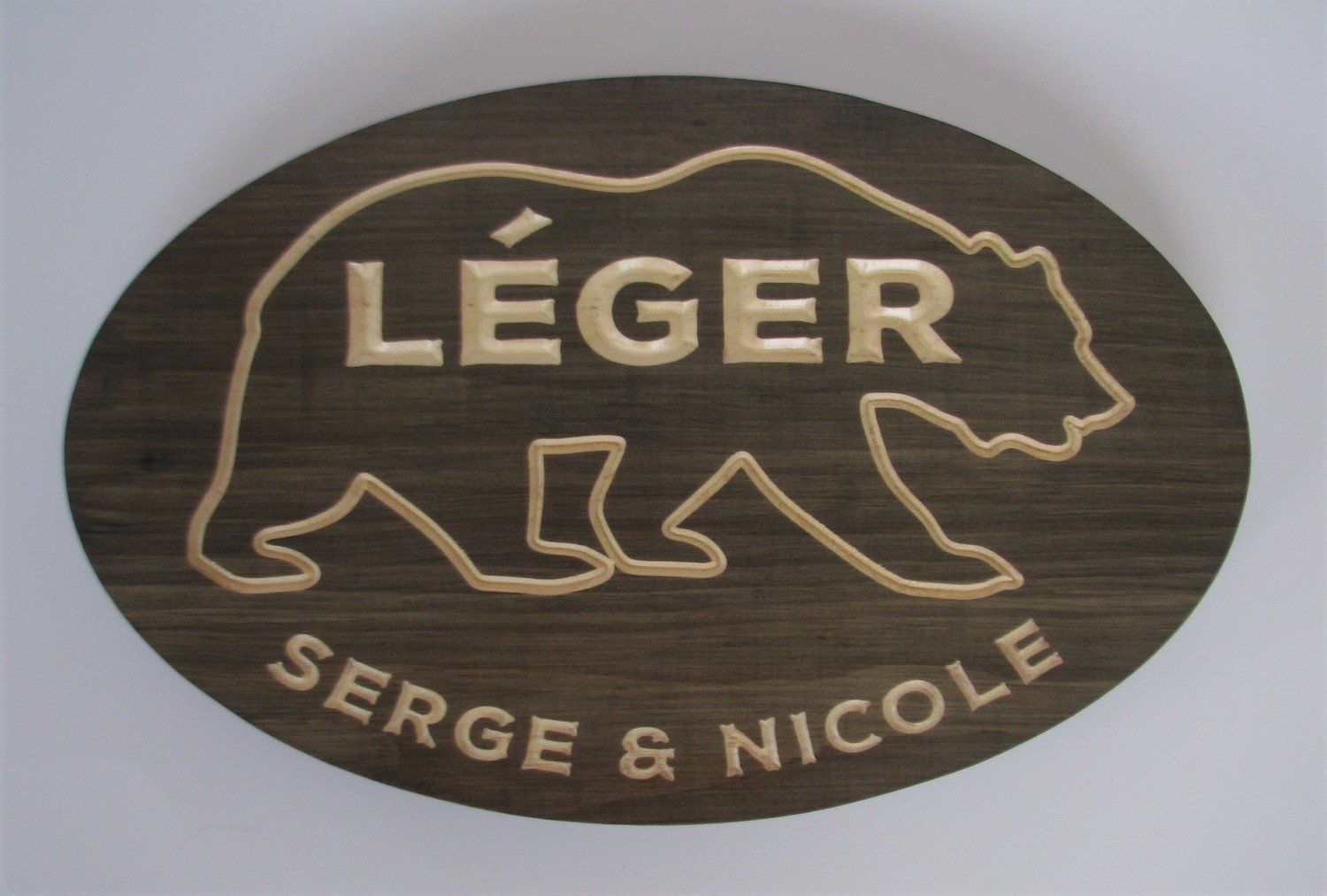 Custom Carved Stained Outdoor Wood Sign with Carved Bear Outline