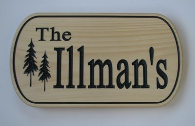 Custom Pine Family Name Sign with Painted Carving
