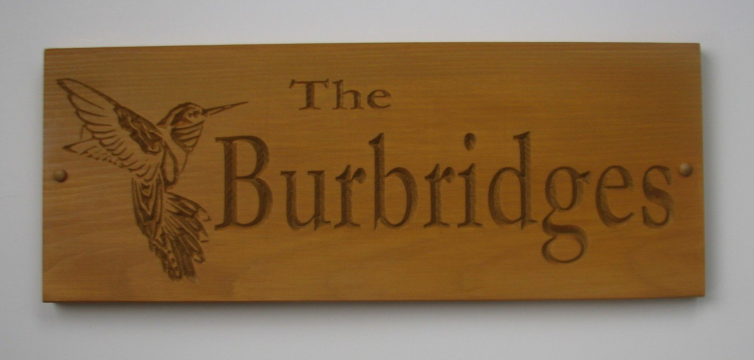 Personalized Rustic Wood Sign Cabin Sign Camp Sign Family Name Sign with Carved Hummingbird