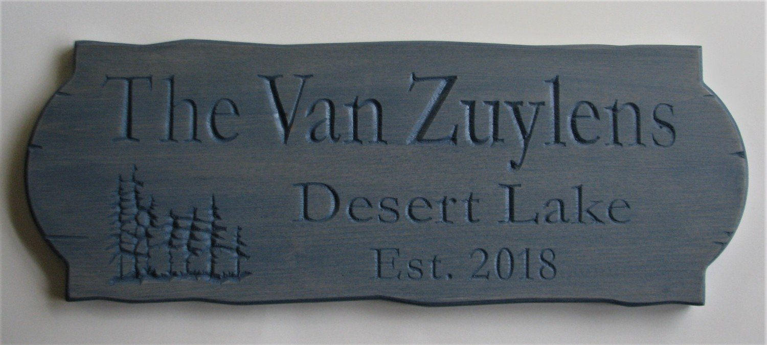 Personalized Blue Rustic Stained Outdoor Wood Sign with Carved Trees