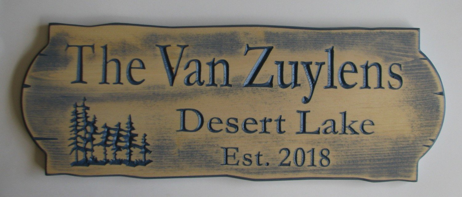 Personalized Rustic Blue Stained Distressed Look Outdoor Wood Sign with Carved Trees