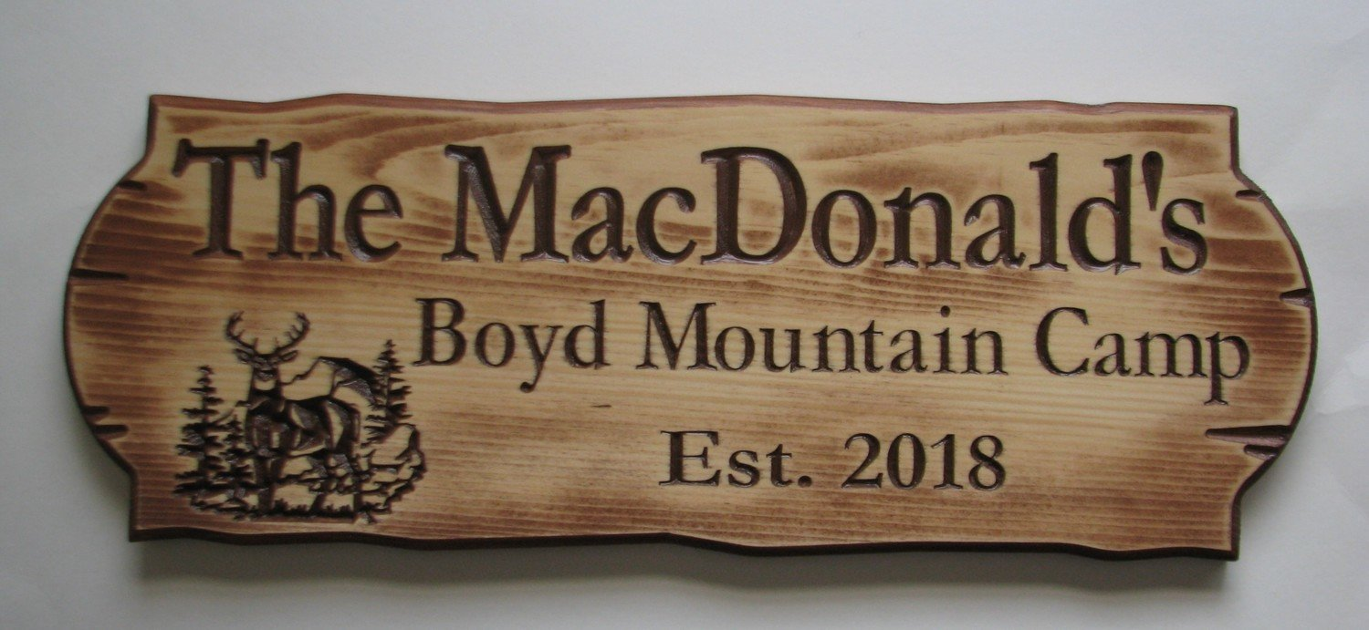 Personalized Rustic Stained Distressed Look Outdoor Wood Sign with Carved Trees and Deer