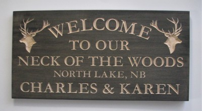 Custom Carved Stained Neck of the Woods Cottage Sign