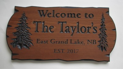 Personalized Stained Wood Carved Camp Cottage Sign