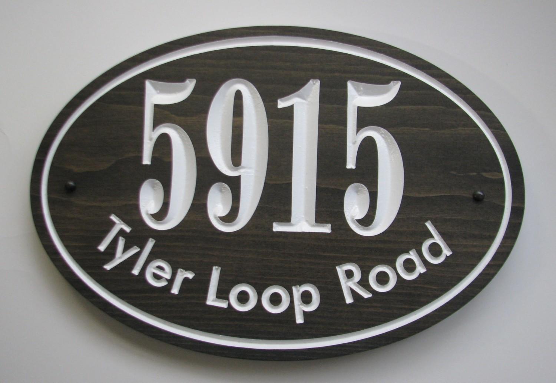 Oval House Number & Address Sign - Slate Black Stained Wooden Address Sign - House Number Address Plaque
