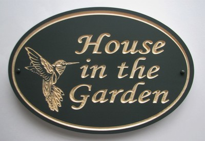 Custom Exterior Oval Wood Sign with Carved Hummingbird