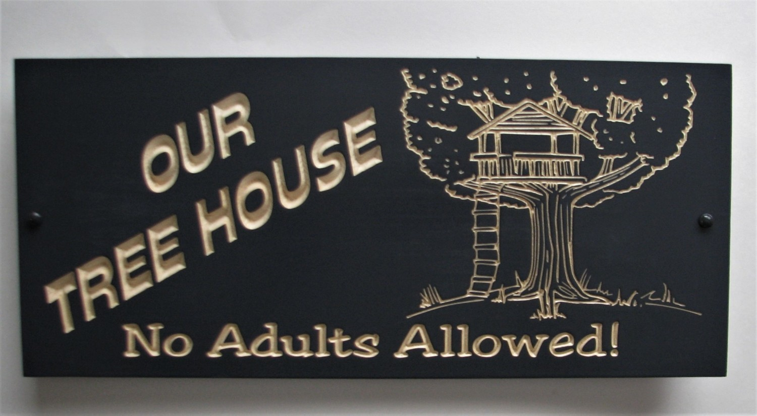 Carved Wood Tree House Sign