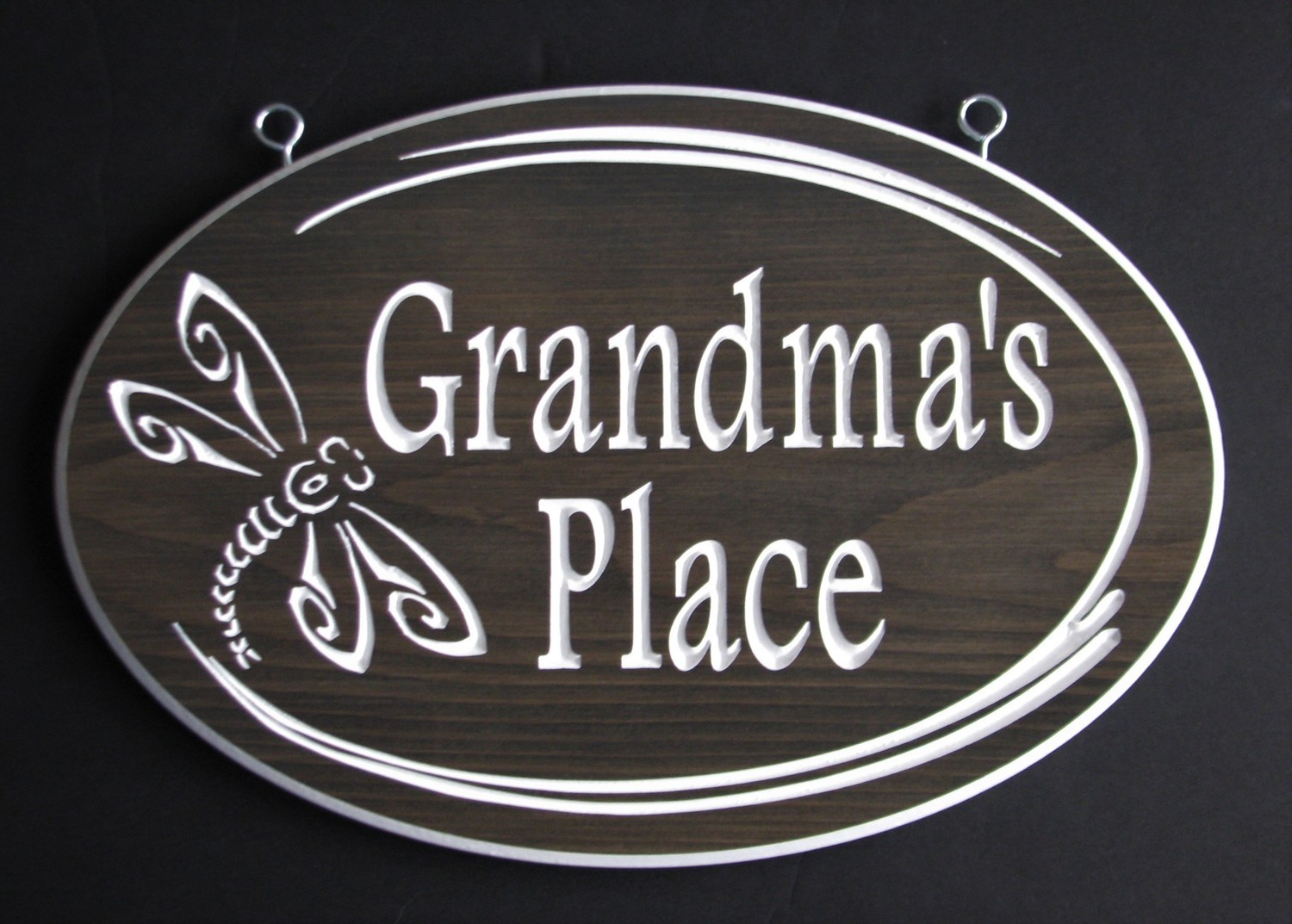 Stained Wood Oval Sign with Dragonfly