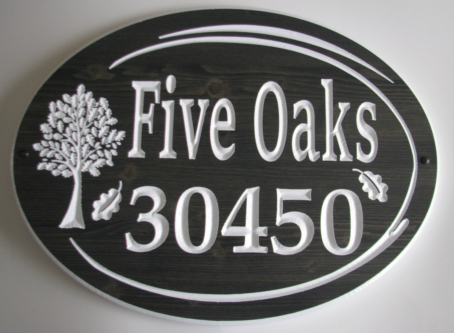 Large Rustic Stained Wood Sign House Number Sign with Oak Tree