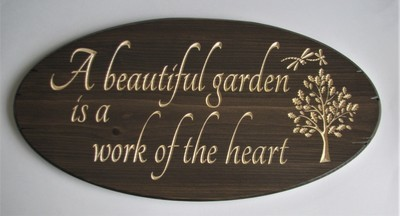 Stained Oval Wood Sign Rustic Garden Sign with carved Oak Tree and Dragonflies