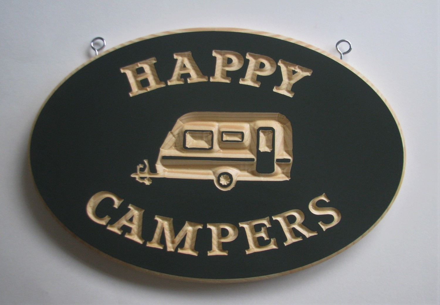 Exterior Oval Wood Sign Happy Campers