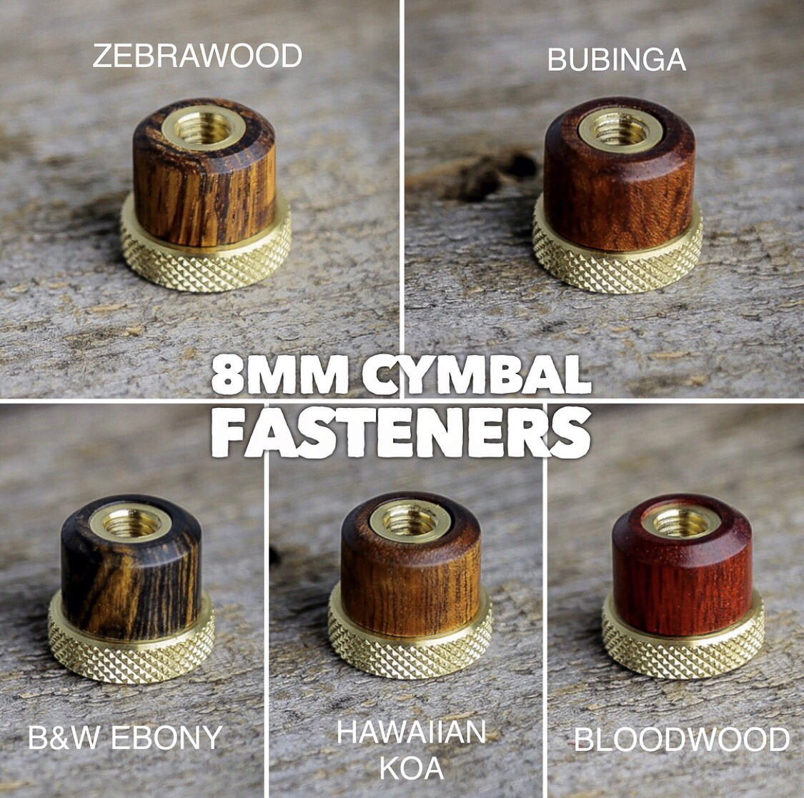 Exotic Wood Cymbal Fasteners