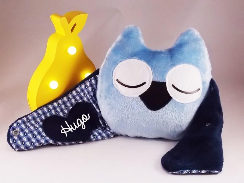 Doudou oreiller chouette bleu prénom personnalisable