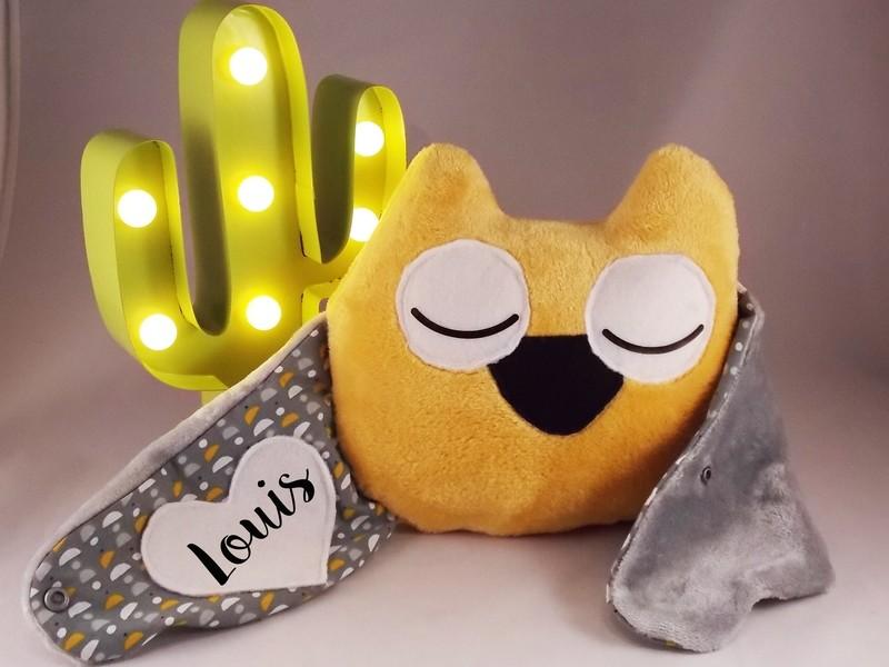 Doudou oreiller chouette moutard, fait main, prénom personnalisable