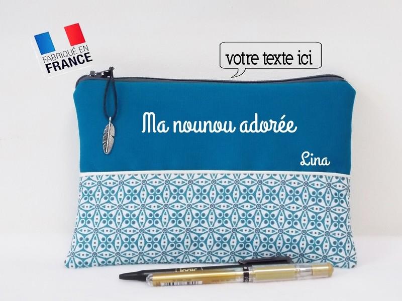 Trousse avec votre texte - coton motif turquoise mosaïque