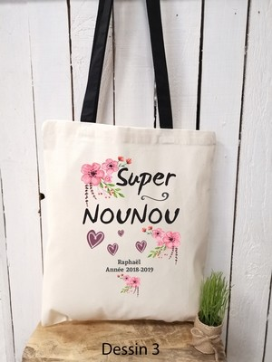 Tote bag Nounou personnalisable prénom et année, cadeaux fin d'année