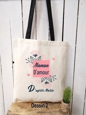 Tote bag/sac shopping/cabas maman d'amour avec prénom personnalisable et différents modèles