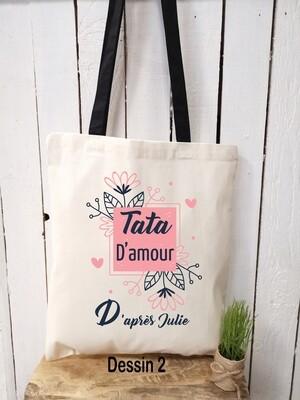 Tote bag/sac shopping/cabas tata d'amour avec prénom personnalisable et différents modèles