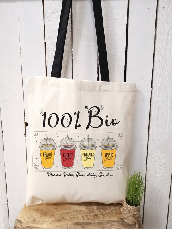 Tote bag/sac shopping/cabas bio mais avec de la vodka