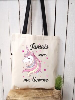Tote bag/sac shopping/cabas jamais sans ma licorne