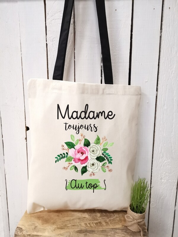 Tote bag/sac shopping/cabas Madame toujours au top