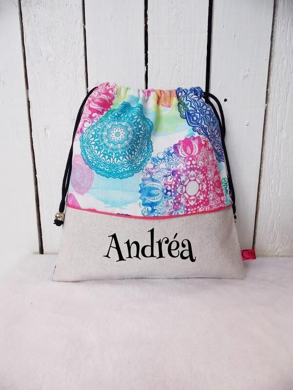 Sac à doudou / sac a goûter prénom personnalisable collection Mandala