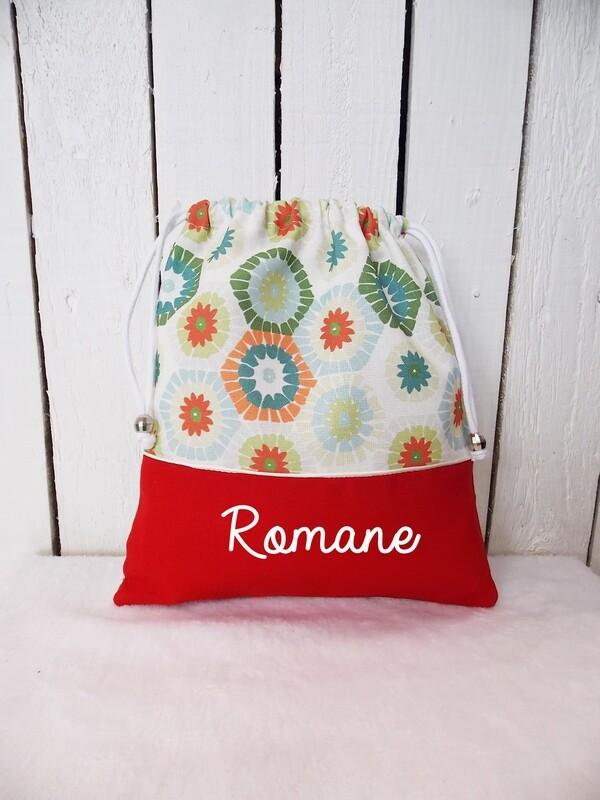 Sac à doudou / sac a goûter prénom personnalisable collection hexagones colorées
