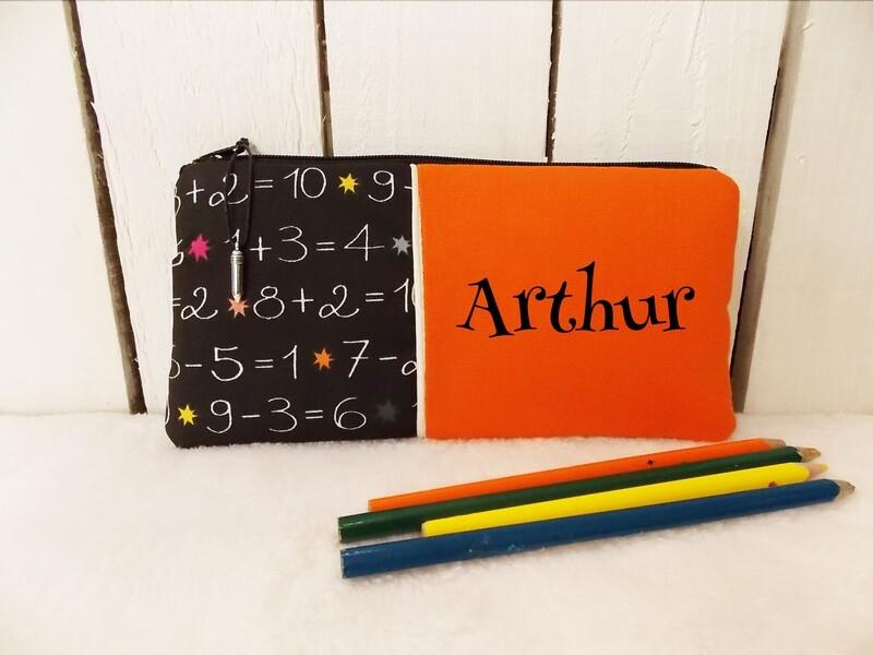 Trousse d'école personnalisée - les nombres orange