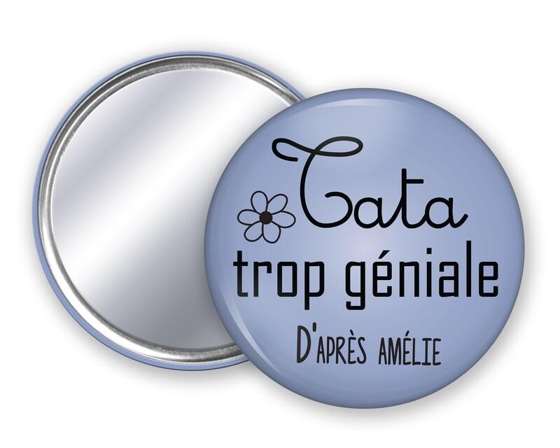 Badge miroir tata trop géniale, prénom personnalisable et couleur