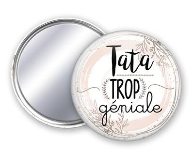Badge miroir tata trop géniale, or