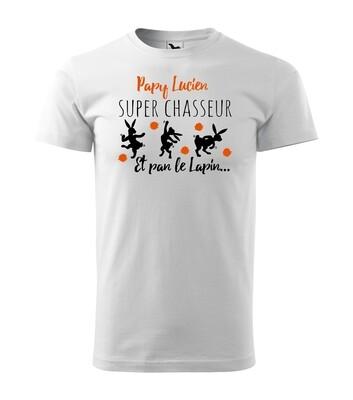 Tee shirt homme super chasseur , prénom du papy personnalisable