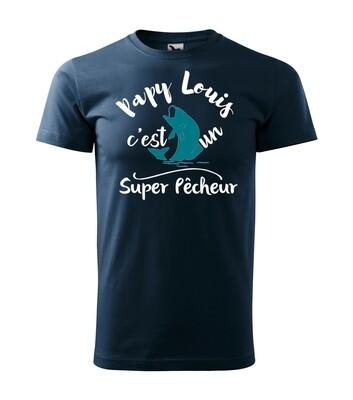 Tee shirt homme super pêcheur , prénom du papy personnalisable