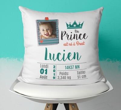 Coussin naissance personnalisable pour petit garçon avec ou sans photo thème prince