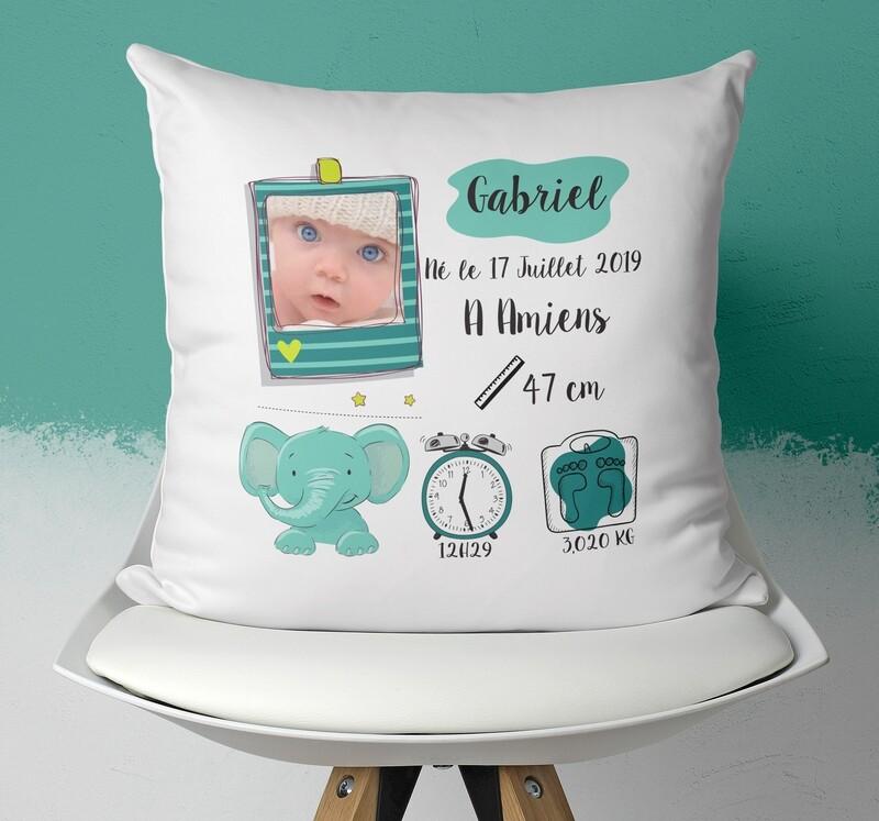 Coussin naissance personnalisable pour petit garçon avec ou sans photo thème éléphant
