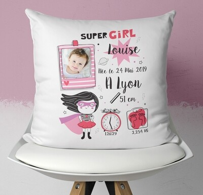 Coussin naissance personnalisable pour petite fille avec ou sans photo thème super héro