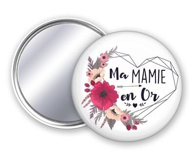 Badge miroir en or pour tata, mamie, maman, marraine, nounou