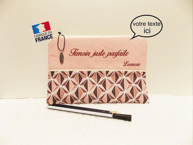Trousse avec votre texte - coton motif rose géométrique