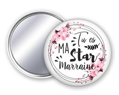 Badge miroir star tata, mamie, maman, marraine, nounou