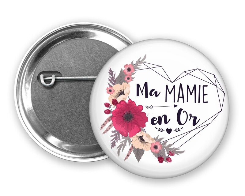 Badge épingle en or tata, marraine, mamie, maman, nounou