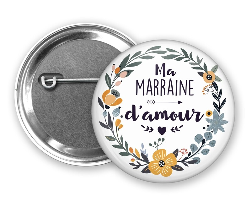 Badge épingle d'amour tata, marraine, mamie, maman, nounou