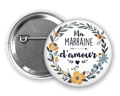 Badge épingle d'amour tata, marraine, mamie, maman, nounou